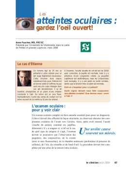 Les atteintes oculaires - STA HealthCare Communications