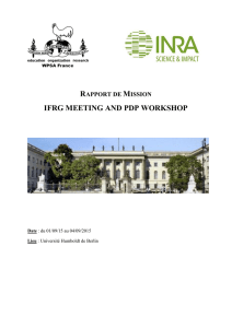 rapport de mission ifrg meeting and pdp workshop