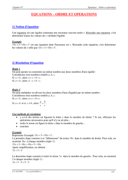 equations – ordre et operations