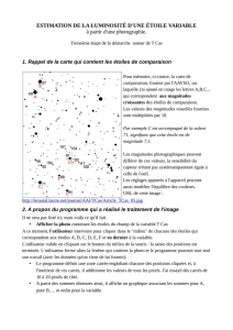 ESTIMATION DE LA LUMINOSITÉ D`UNE ÉTOILE VARIABLE à