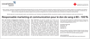 Responsable marketing et communication pour le don de sang à 80