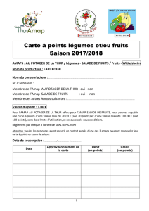 Carte à points légumes -Fruits