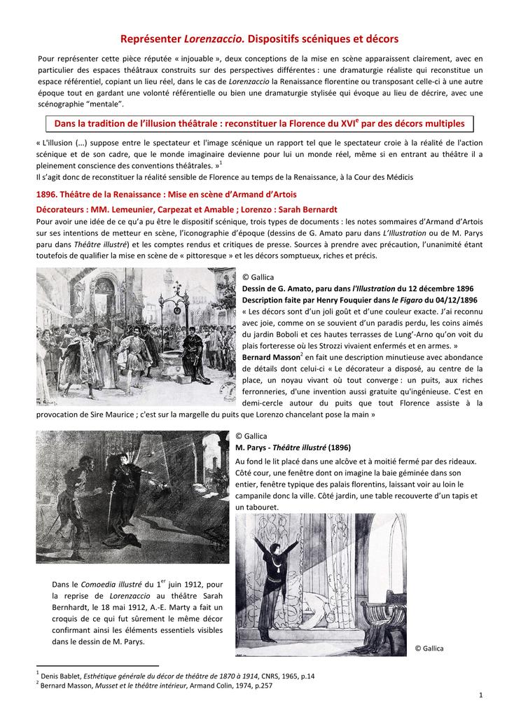 Representer Lorenzaccio Dispositifs Sceniques Et Decors