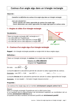 Cosinus d`un angle aigu dans un triangle rectangle
