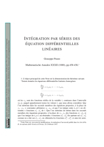 int´egration par s´eries des ´equation diff