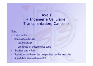 Axe I « Ingénierie Cellulaire, Transplantation, Cancer - IFR-133-IBCT
