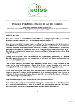 Chirurgie ambulatoire : le point de vue des usagers.