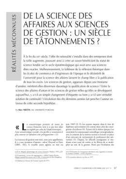 de la science des affaires aux sciences de gestion
