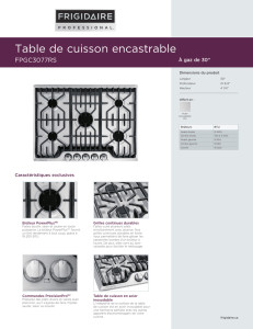 Table de cuisson encastrable