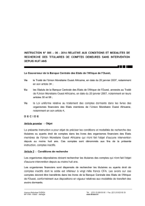 Instruction n°005-06-2014 relative aux conditions et