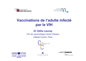 Vaccinations de l`adulte infecté l VIH par le VIH