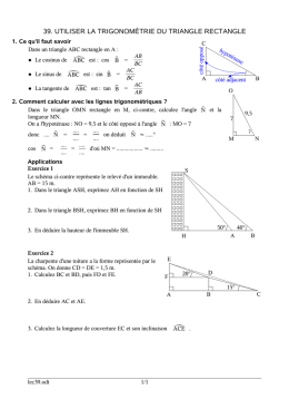 39. utiliser la trigonométrie du triangle rectangle