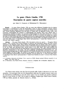 Le genre Filaria Gmelin, 1790 Description de quatre espèces
