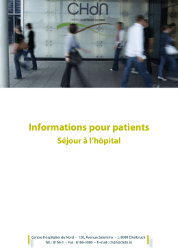 Informations pour patients - Centre Hospitalier du Nord