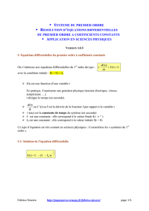 resolution equation differentielle 1er ordre v105
