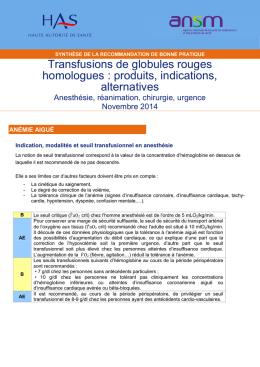 Transfusions de globules rouges homologues