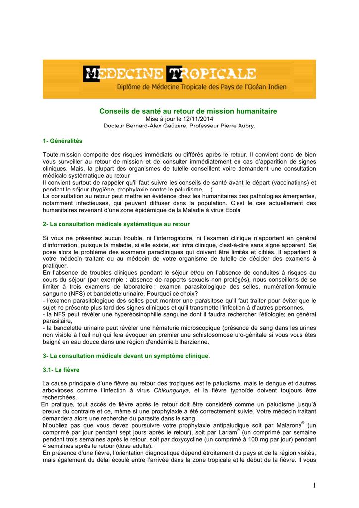 1 Conseils de santé au retour de mission humanitaire