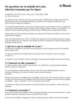 Six questions sur la maladie de Lyme, infection transmise par les