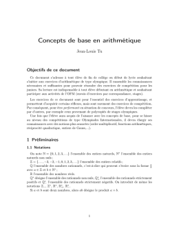 Concepts de base en arithmétique