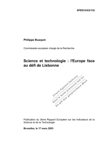 Science et technologie : l`Europe face au défi de Lisbonne