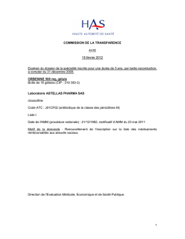 Avis de commission de transparence Orbénine 500mg