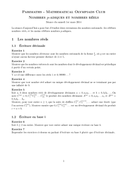 Parimaths - Mathematical Olympiads Club Nombres p-adiques