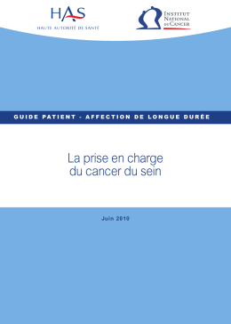 ALD n° 30 - Guide patient : la prise en charge du cancer du sein