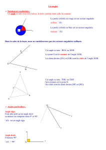 Les angles ✍ Notation et vocabulaire : Un angle se note