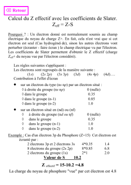 Calcul du Z effectif avec les coefficients de Slater. Zeff = Z-S