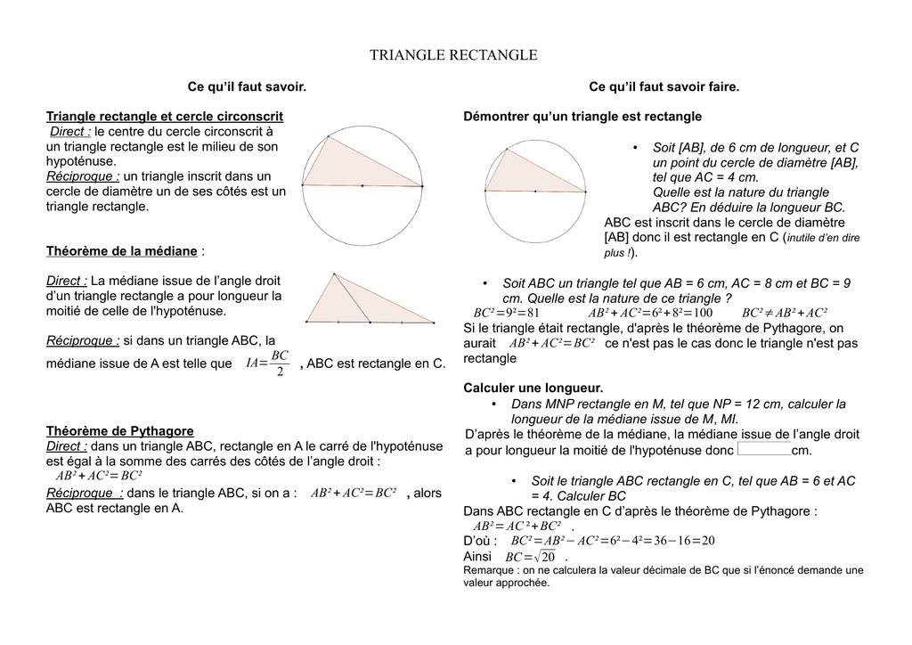 Fiche Sur Le Triangle Rectangle