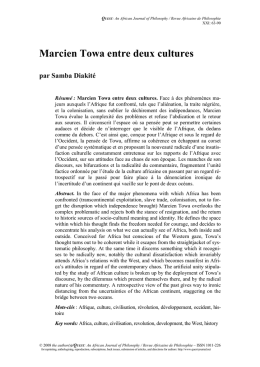 Marcien Towa entre deux cultures - Quest: An African Journal of