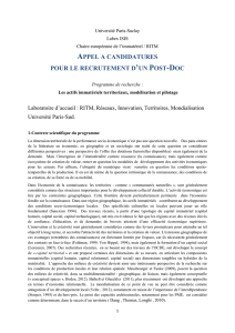 Appel Post-Doc - Territoires - RITM - Université Paris-Sud