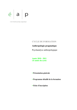 CYCLE DE FORMATION Anthropologie pragmatique Psychanalyse