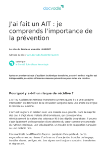 J`ai fait un AIT : je comprends l`importance de la prévention