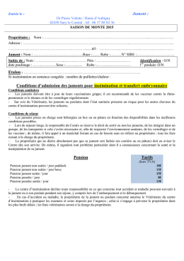 Jument : Conditions d`admission des juments
