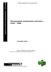 Ethnographie missionnaire africaine : 1920 - 1960