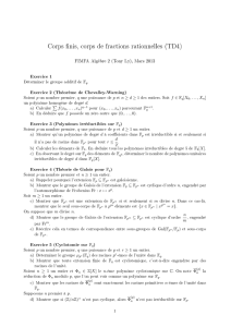 Corps finis, corps de fractions rationnelles (TD4)
