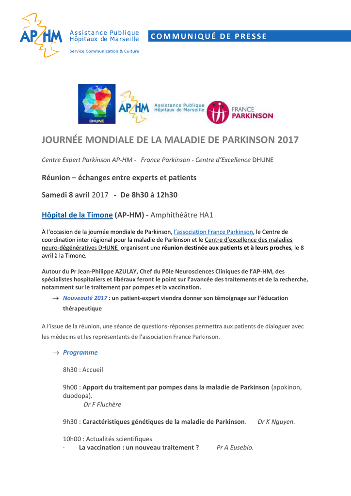 Maladie de Parkinson : rencontre public - experts le 8 avril - AP-HM