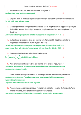 Correction DM : défauts de l`œil (10 points)