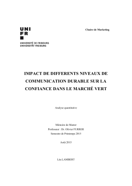 impact de differents niveaux de communication durable sur la