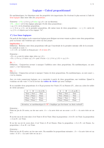 Logique - Calcul propositionnel