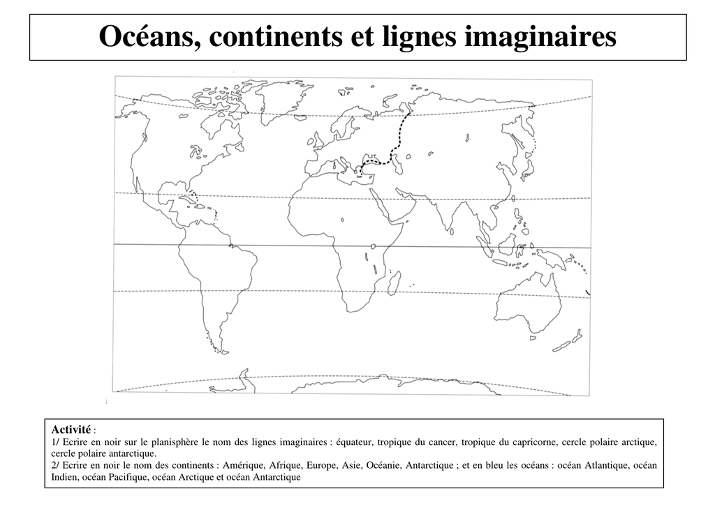 Oceans Continents Et Lignes Imaginaires