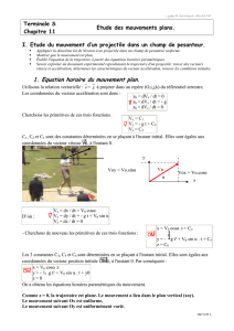 1. Equation horaire du mouvement plan.