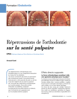 REPERCUSSION DE L`ORTHODONTIE SUR LA SANTE PULPAIRE