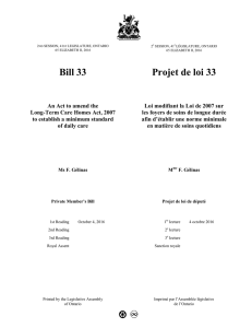 Bill 33 Projet de loi 33 - Legislative Assembly of Ontario