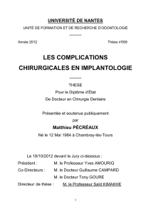 les complications chirurgicales en implantologie