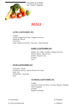 MENUS LUNDI 21 SEPTEMBRE 2015 Crudités Chunks (Nuggets