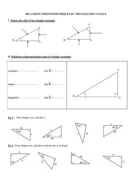 RELATIONS TRIGONOMETRIQUES DU TRIANGLE RECTANGLE