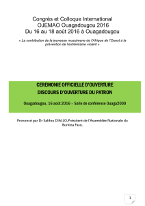 Congrès et Colloque International OJEMAO Ouagadougou 2016 Du