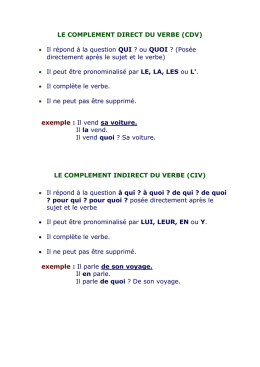 le complement direct du verbe (cdv)